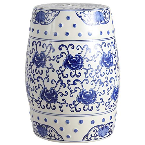 "Jonathan Y TBL1000A Lotus Flower 17.8"" Chinoiserie Ceramic Drum Garden Stool, Blue/White -  happimess"