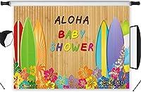 新しいアロハベビーシャワーの背景トロピカルフローラル写真の背景10x7ft素朴な木の背景海ハワイアンルアウパーティーケーキテーブルバナー写真ブース小道具洗える
