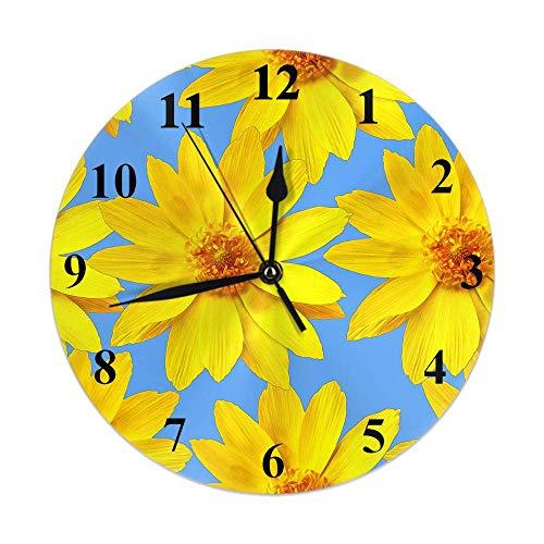 Kinhevao Blumenuhr Natur Pflanze Blüte Gelb Garten Adonis Blumen Runde Wanduhr Slient Non Ticking Rustikale Wohnkultur 10 Zoll für Küche Badezimmer Büro