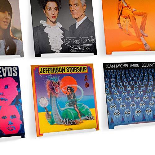 Hudson Hi-Fi LP Schallplatten-Wand-Display – 6 Stück – Präsentieren Sie Ihren täglichen Hörgenuss mit Stil – White Pearl