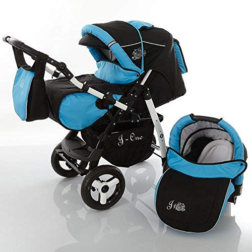 3 in 1 Combi kinderwagen Kinderwagen Complete Set met autostoel Isofix J-One van ChillyKids 2in1 without car seat black & light blue