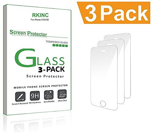 For iPhone 5 5S SE 5C Screen Protector, RKINC iPhone 5 5S 5C SE Tempered Glass Screen Protector for Apple iPhone 5, iPhone 5S, iPhone 5C, iPhone (iPhone 5S, 3-Pack)