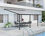Palram Olympia Terrassenüberdachung 3X5 - Gestell aus Alumiuium & 16 mm Polycarbonat - Terrassendach Für den Ganzjährigen Gebrauch Geeignet, Grau, 546 x 295 x 305 cm
