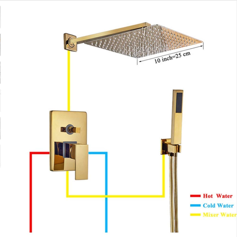 SISHUINIANHUA Bad Wasserhahn Gold Regen Dusche Bad Wasserhahn Wand Badewanne Dusche Mischbatterie Bad Dusche Wasserhahn Dusche Set,10inch