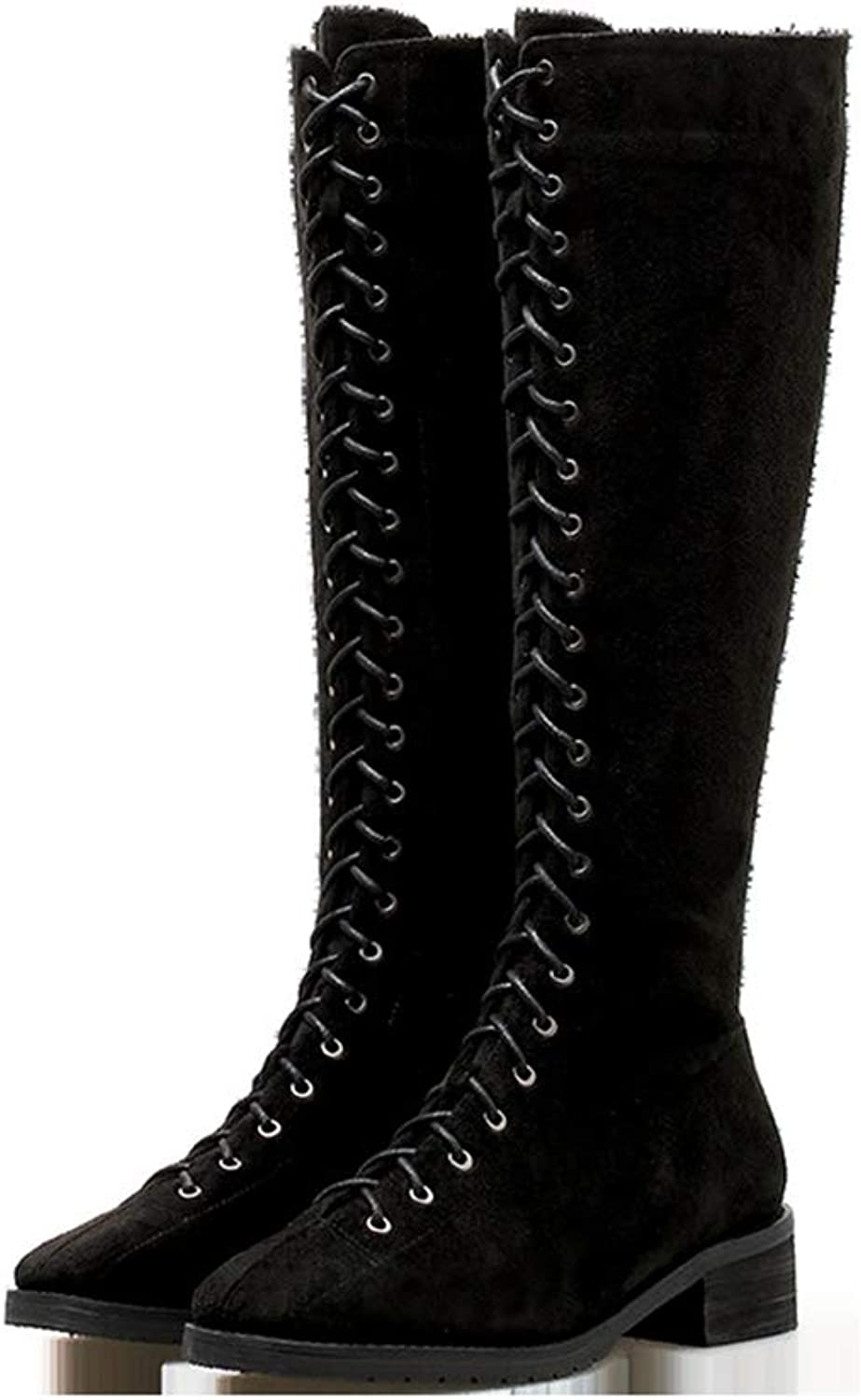 Sam Carle Women Boots, Zipper Lace Decoration Plus Velvet Round Toe Over The Knee Boots