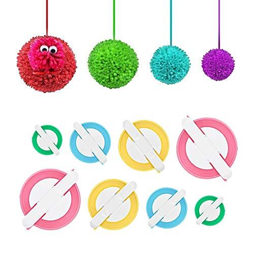 KNEWMART Pompom Maker,2 Set 4 Größen Bommel Maker Groß Set Fluff Kugel Weber DIY Handwerk Pompom Making Kit für Kinder/Erwachsen