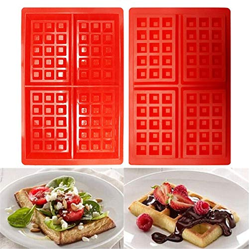 Learn More About Silicone Waffle Mold, 2 Pack Waffle Maker Baking Tray Molds, 4 Cavities Molds, Dish...