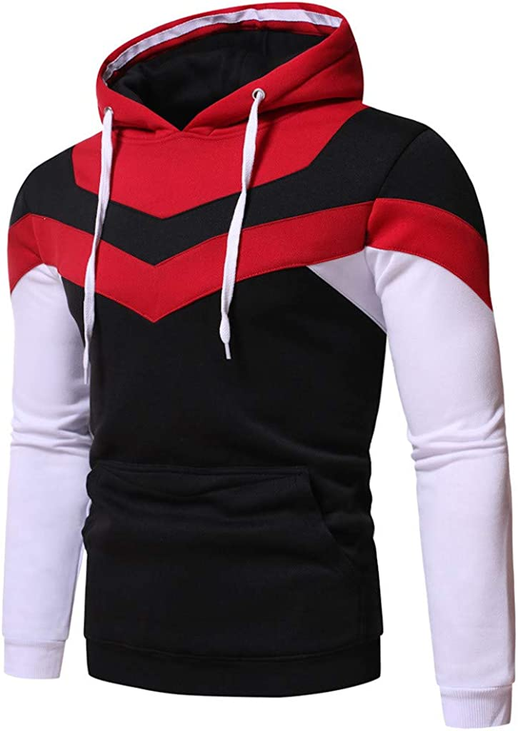 Long Sleeve Contrast Color Tops for Men Fashion Hooded Sweatshirts Striped Hoodies Drawstring Pullover with Pocket