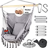 Tintonlife Hammock Chair Swing with Hanging Hardware Kits, Cotton Canvas Hammock Hanging Chair, Include 2 Cushions +Side Pocket + Rope + Carrying Bag, for Indoor Outdoor, Max Weight 400 Lbs(Grey)