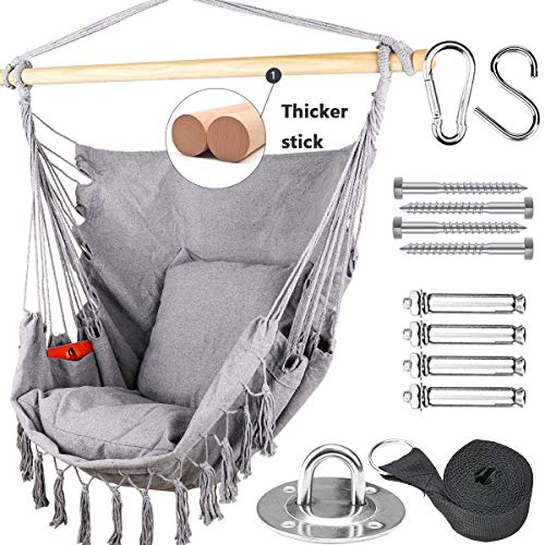 Tintonlife Hammock Chair Swing with Hanging Hardware Kits, Cotton Canvas Hammock Hanging Chair,...