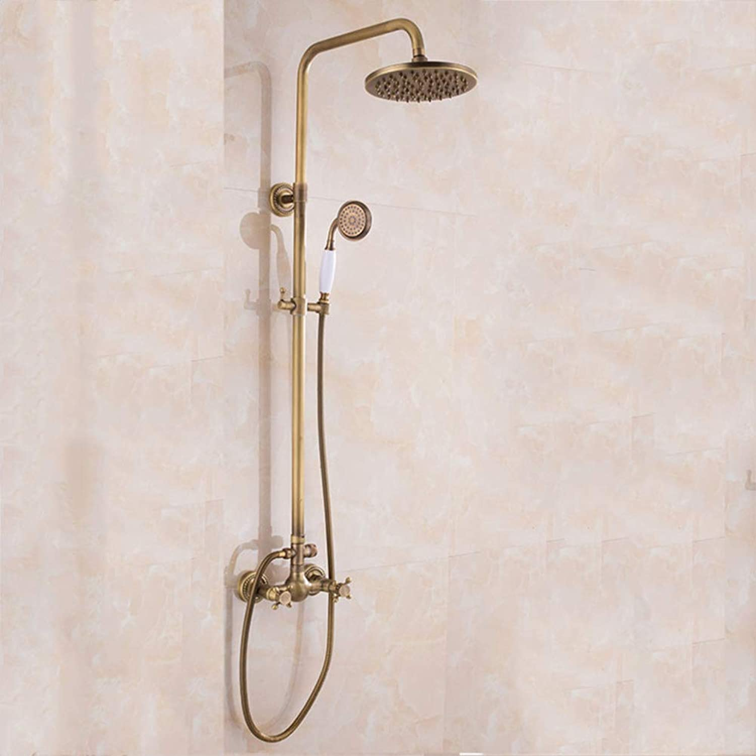 SMQ Shower kit, retro European style, hot and cold water mixer, multi-function, copper, shower head
