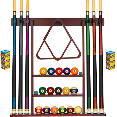 Pool Cue Rack - Pool Stick Holder Wall Mount With 16 Ball Holders & 6 Pack Of Chalk - Rubber Circle Pads & Large Clips Prevent Damage - Compact Billiard Table Accessories For Man Cave (Mahogany)