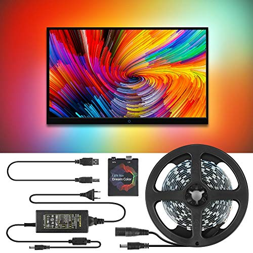 LED Strip Lights, DIY Ambilight TV PC Dream Screen HDTV USB LED Strip Addressable Computer Monitor Backlight LED Strip Complete Package,30leds per Meter,1M Kit