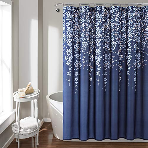 Navy Vine Shower Curtain
