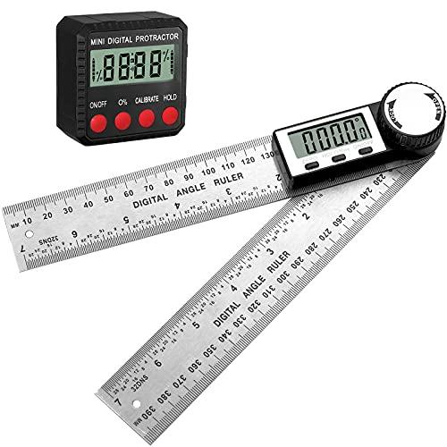 XUNTOP Mini transportador digital + regla digital de ángulo de 17,7 cm, herramienta precisa para carpintería para sierra de mesa, sierra de inglete y zócalo, etc. (2 unidades)