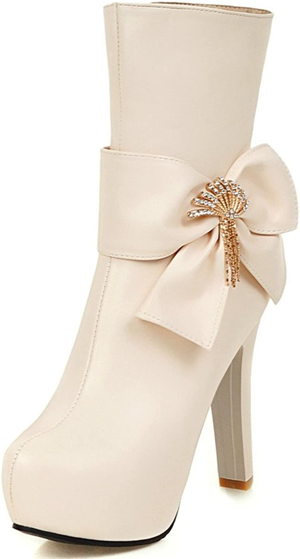 Fashion Heel Women's Chunky Heel Round Toe Platform Bowknot Mid Calf Boot
