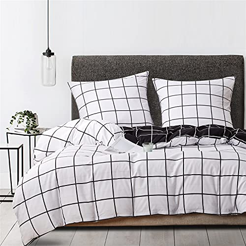 Ropa de cama a cuadros 135 x 200 cm en blanco y negro, reversible, funda nórdica de microfibra y funda de almohada de 80 x 80 cm con cremallera