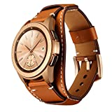 Balerion Cuff Genuine Leather Watch band,Compatible with Samsung Galaxy watch3 41mm,Galaxy watch 42mm,Gear Sport and other standard 20mm band width watch,Brown