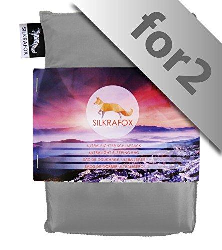 Silkrafox for 2 - Saco de Dormir Ultraligero para Las excursiones de Senderismo, 150 cm de Anchura es Espacio Suficiente, los Viajes, Las acampadas, Seda Artificial, Gris
