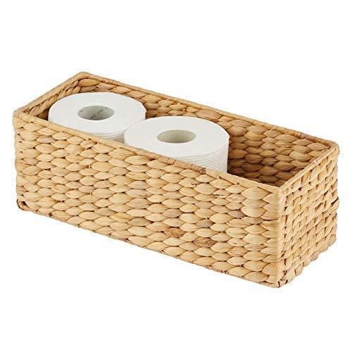 mDesign Cesta organizadora de jacinto de agua natural – Cesta trenzada decorativa y apilable – Organizador de baño ideal para almacenaje – bambú