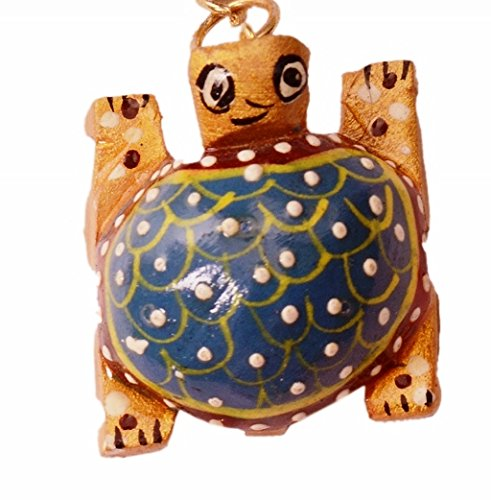 Purpledip Sleutelhanger/Ring/Haak 'Lucky Tortoise': Sculpted In Kadam Hout met Fijne Gouden Schilderijen, Uniek Indiaas Cadeau-idee (11265)