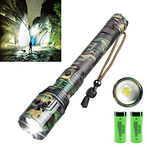 Rechargeable LED Flashlight,100000 High Lumen Brightest Powerful Flashlight,Upgrade P70.2 Tactical Flashlight with 26650 Batteries,5 Modes,Zoomable,IPX5 Waterproof Flashlight for Emergency Camping