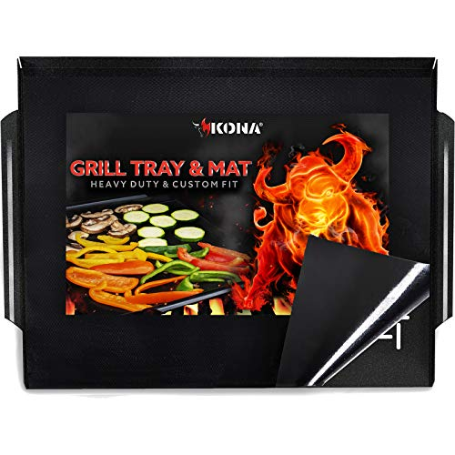 Kona Grill Mat & Grill Pan - The Ultimate Non-Stick Grilling Tray Combo