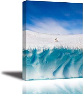 Tku's Lovely Penguin On White Ice Mountain Canvas Wall Art, Clear Blue Sky Picture, Animals in The Antarctic Pole Painting, Modern Home Decor for Bedroom (Waterproof, Ready to Hang)