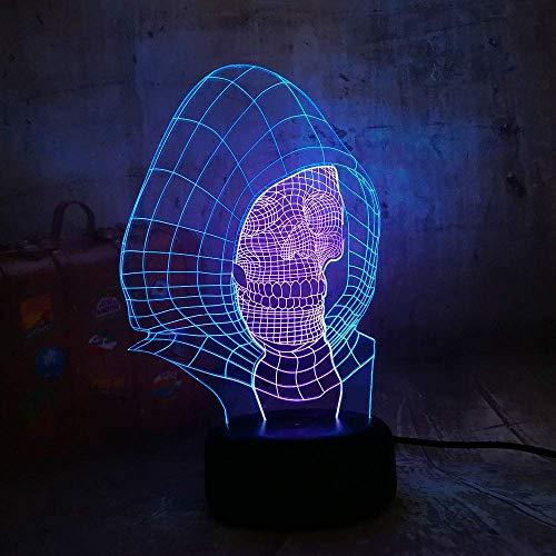 Cráneo 3D Lámpara de ilusión LED Luz de noche Mesita de noche óptica Luces de noche 16 botones táctiles que cambian de color Decoración Lámparas de escritorio,