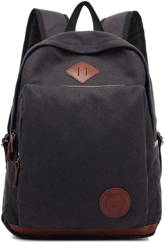 Outdoor Leisure Canvas Backpack Trend Men's Travel Backpack Business Computer Bag School Backpack (Black Green Brown Khaki) Blingstars (color   Black)