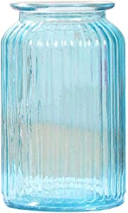 Nikgic. Vase en Verre Transparent, Vase à Rayures Verticales, Convient à la décoration intérieure, au Mariage, Grand Bleu