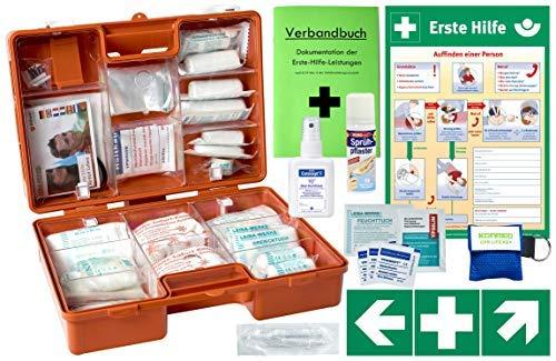 Erste-Hilfe-Koffer M5+ PRO mit DIN 13157 (Betriebe) & 13164 (KFZ) -Komplettpaket- inkl. Notfallbeatmungshilfe + Hände-Antisept-Spray + Verbandbuch + Aushang + Sprühpflaster