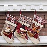 Freesoo 3pcs calcetines Medias de Navidad Bolsa de regalo para Navidad colgantes del árbol Papá...