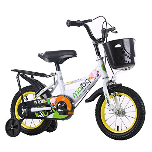 GZMUK 12/14/16/18 Pulgadas Bicicleta Infantil Estudio Aprendizaje Montar A Caballo Bicicleta Niños Niñas Bicicleta con Ruedines por 3-8 Años,Blanco,16 in
