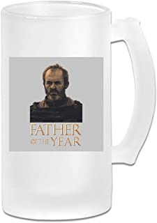 Printed 16oz Frosted Glass Beer Stein Mug Cup - Fathers Day Collection Father Of The Year Stannis Baratheon Game Of Thrones - Graphic Mug