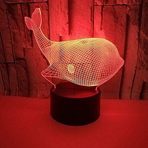 3D ilusión luz ballena 3D noche luz acrílico toque interruptor lindo 7 color cambiante 3D luz ornamento Navidad habitación bebé luz regalo