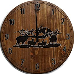 TBA Large Wall Clock Wildlife Scene Deer Elk Buck Doe Rack Hunting Fishing Outdoors Bar Sign Home Décor Classic Walnut 14 inch Wall Decor
