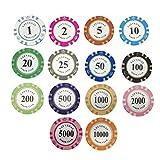 14PCS Juego Fichas de Póquer Entretenimiento de Ajedrez Arcilla Fichas de Póquer Texas Casino Poker Monedas Casino Juegos de Mesa Poker Club Accesorios, Vistoso