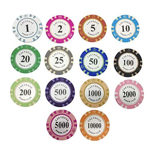14 Stück Pokerchips Texas Hold'em Clay Poker Chipsatz Poker Chips für Poker, um das Spiel für den Tag der Freunde der Familie zu spielen Entertainment Spiel Tokens Bingo Chips Karten Spiel Zubehör