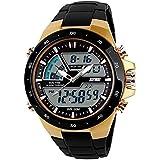 Men's Analog Digital 50M Waterproof Sports Watch Military Multifunction Dual Time Stopwatch Alarm Backlight Gold Watch