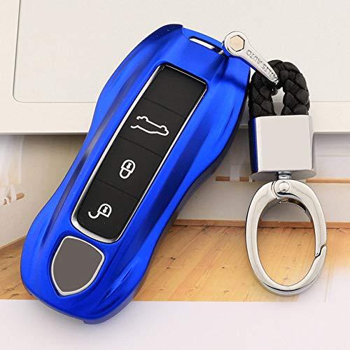 Autosleutelbehuizing Geschikt Voor Porsche,Autosleutelhouder, Antikras Beschermende Sleutelhangerhoes, Autosleutel Shell-Beschermer Compatibel, Blauw Met Sleutelhanger