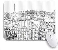 NINEHASA 可愛いマウスパッド パリとエッフェル塔の屋根の建築テーマデザインイラスト ノンスリップゴムバッキングコンピューターマウスパッドノートブックマウスマット