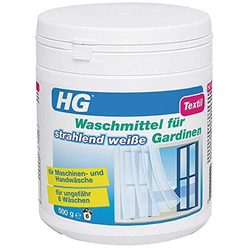 HG Waschmittel für Strahlend Weiße Gardinen 2er Pack (2x 500 gr) – Entfernt Verunreinigungen - Lässt den Gardinenstoff Wieder Sauber Strahlen