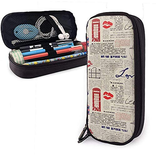 London Newspaper Inspired Cute Pen Pencil Case Bolsa de cuero Bolsa Estuche de lápices con doble cremallera Caja para oficina escolar Niñas Niños Adultos