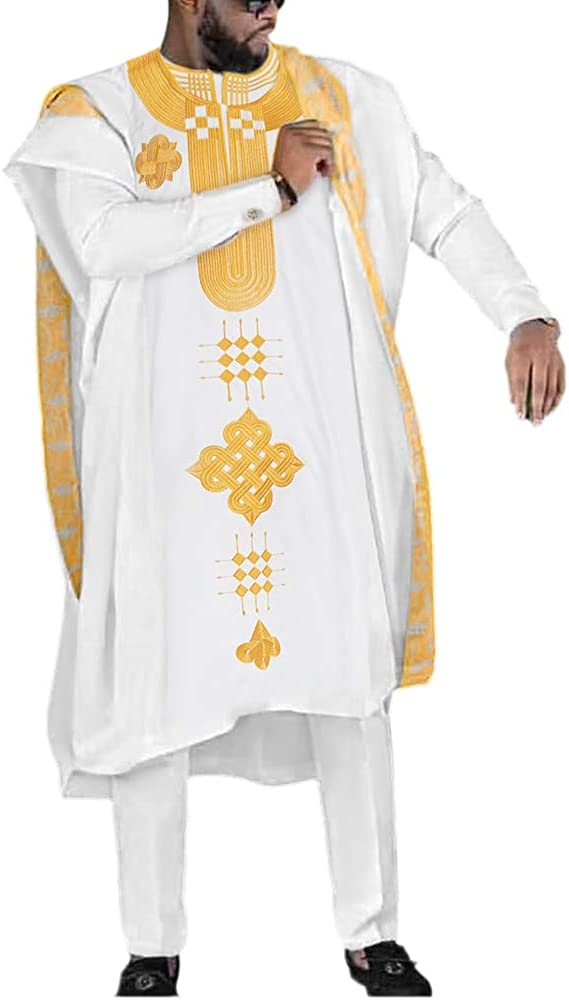 HD African Mens Apparel Agbada Clothing Embroidery Dashiki Shirts and Pants Outfits 3 Pieces