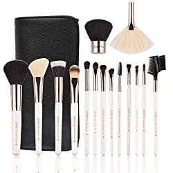 Bộ cọ trang điểm 15 cây Makeup Brushes Set 15pc Rose Gold Make Up Brush Set Premium Synthetic Foundation Powder Concealers Eye Shadows With Professional Easy Travel Vegan Leather Case Bag Organizer