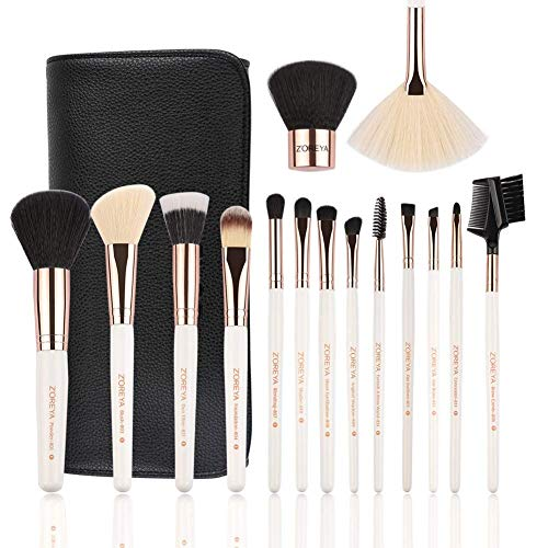 ZOREYA Makeup Brush Set,15pcs Rose Gold Luxury and Fashion Makeup Brushes,Professional Premium Synthetic Foundation Powder Concealers Eye Shadows Makeup brushes Set with Perfect Vegan Leather Bag