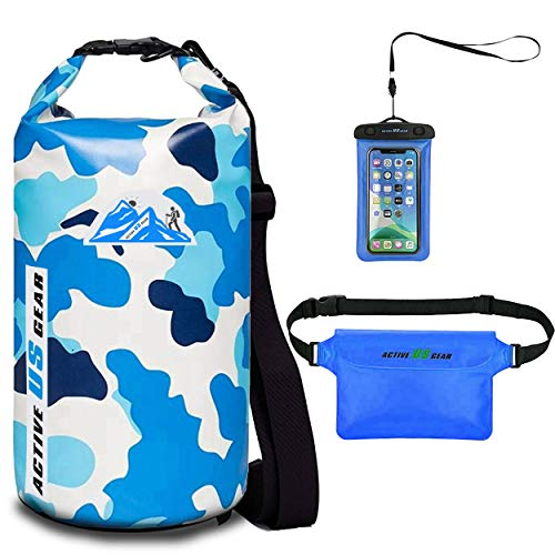 Floating Waterproof Dry Bag with Touch-Friendly Phone Case and Waist Pouch Backpack 5L/10L/ 20L/30L Dry Sack wet bag for Kayaking, Fishing, Swimming, Beach, Boating, Water Sports, Rafting,CamoBlue 10L