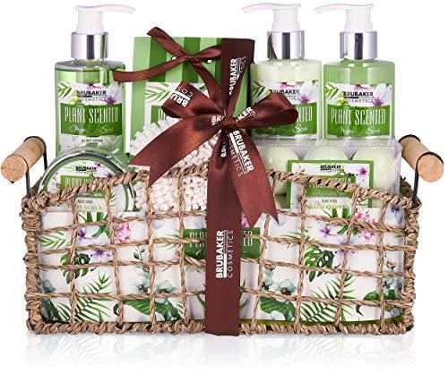 BRUBAKER Beautyset Bade- und Dusch Set Aloe Vera - 13-teiliges Geschenkset in dekorativem Korb
