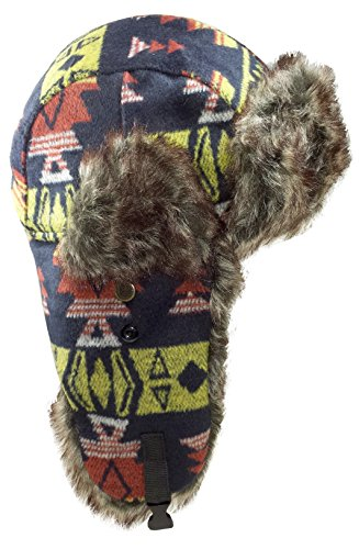 Dakota Dan Mens Nassak Yellow Trapper Cap Hat w/ Faux Fur Lining (Multi)